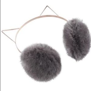 LAUREN CONRAD Metal Headband Faux Fur Cat Earmuffs